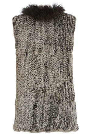 Long Length Snow Tipped Fleck Fur Gilet Back