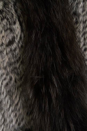 Long Length Snow Tipped Fleck Fur Gilet Close-up