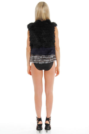 Silver Fox and Raccoon Gilet - Cropped