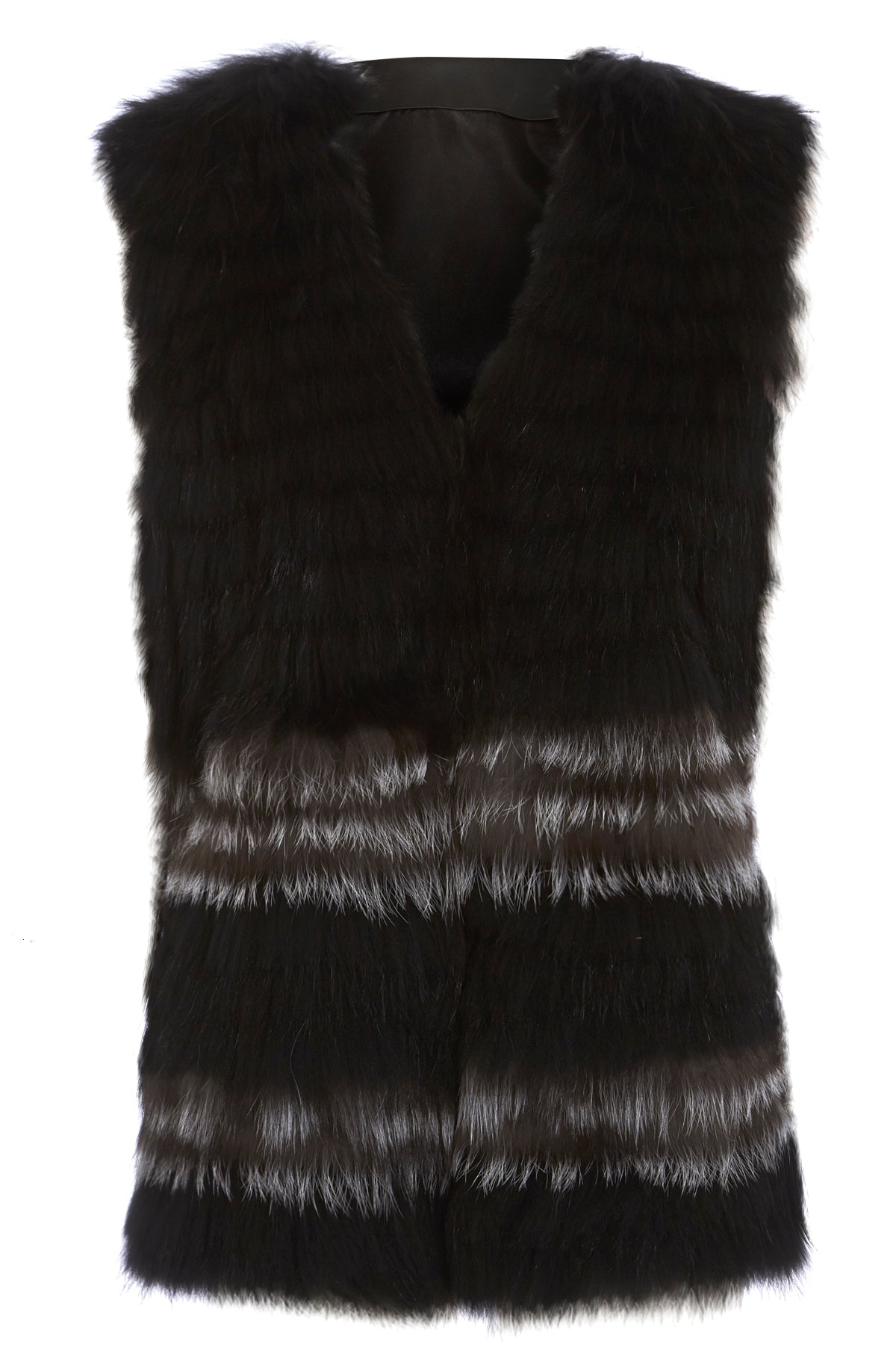 Silver Fox and Raccoon Gilet - Long