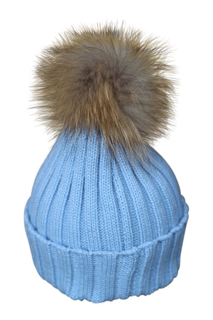 Sky Blue Fur Bobble Hat