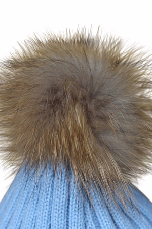 Close Up Sky Blue Fur Bobble Hat