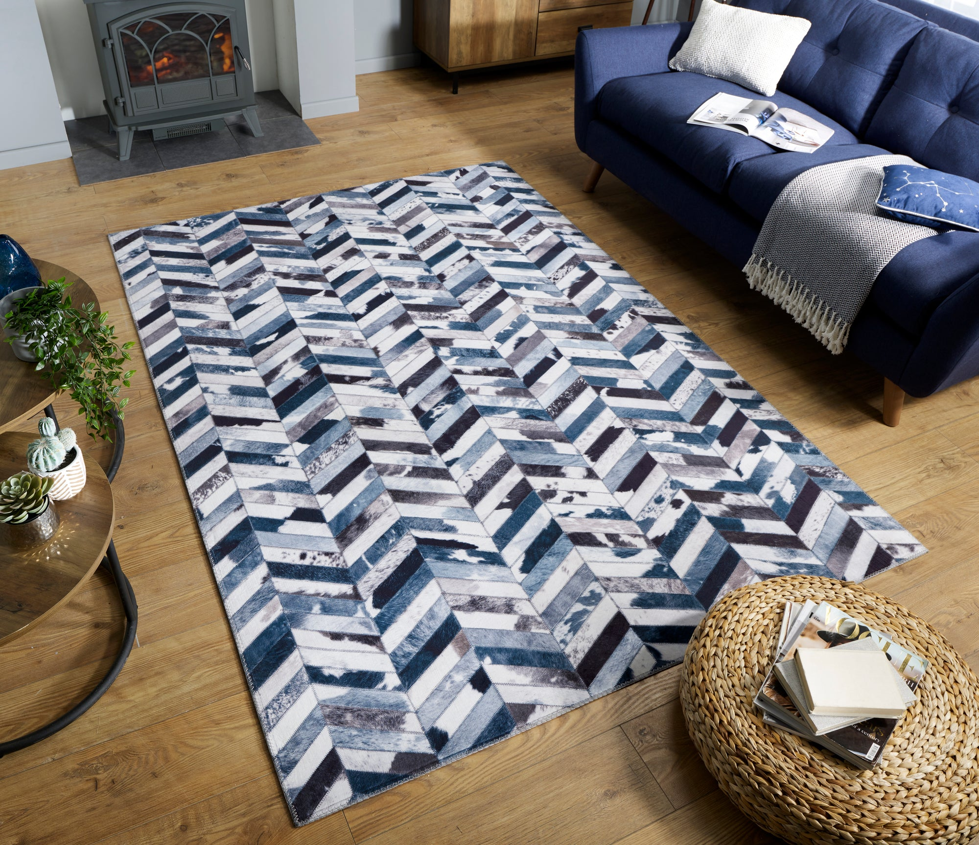 Chevron Patchwork Faux Hide Rug - Blue/Grey