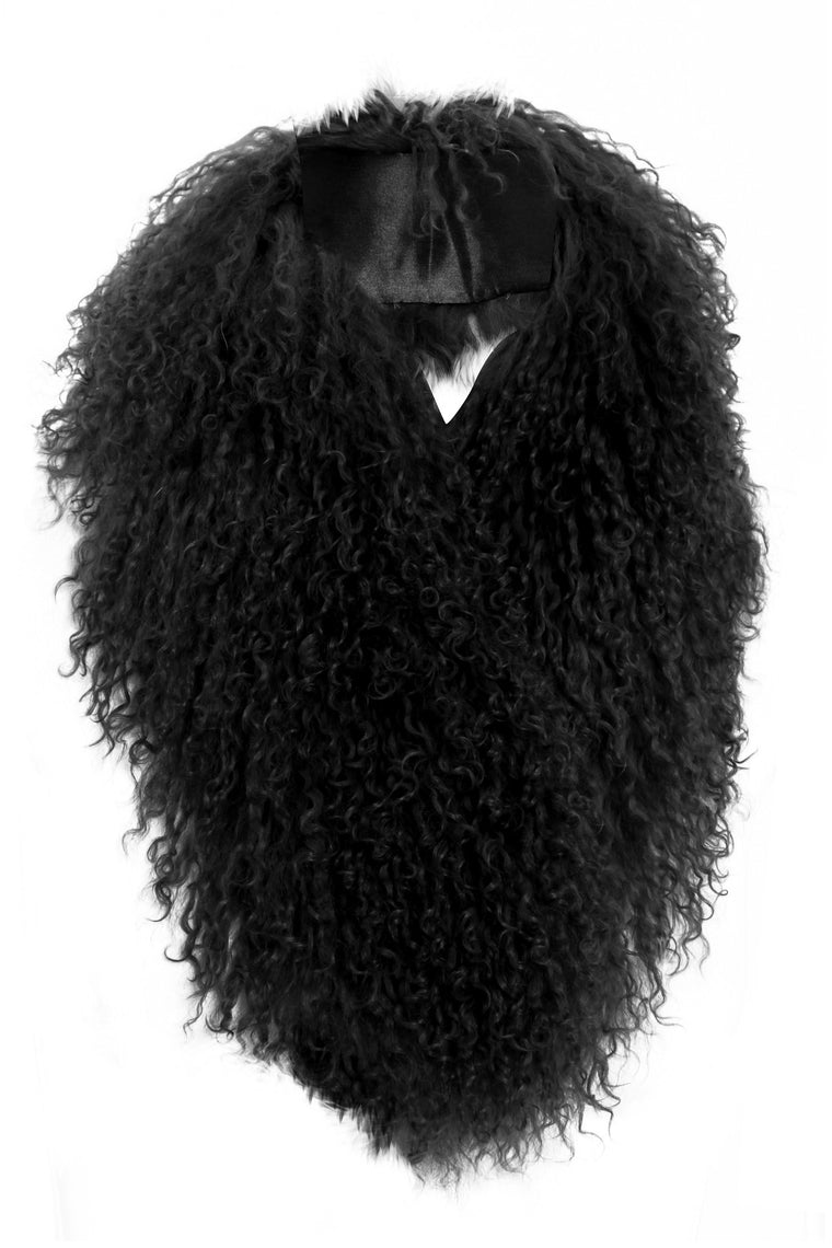 Mongolian Fur Collar Black