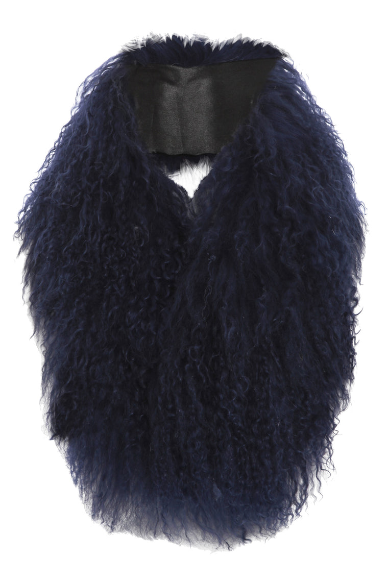 Mongolian Fur Collar Navy