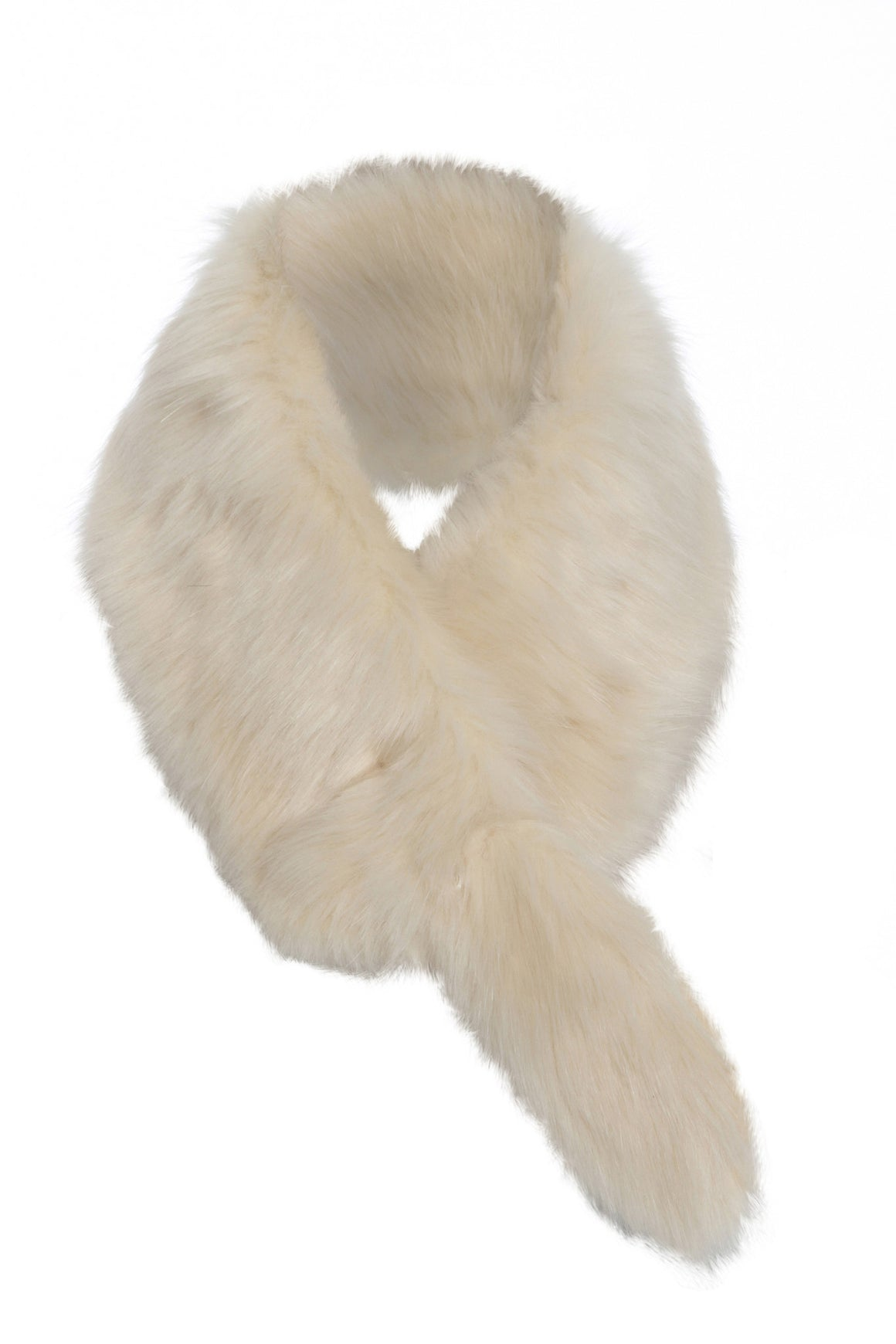 Faux Fur Muffler Scarf Cream