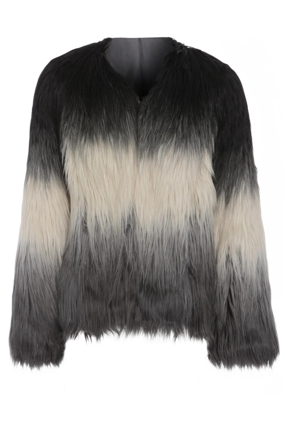 Long Haired Faux Fur Ombre Coat