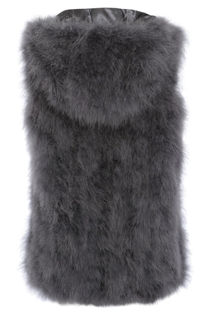 The Ostrich Fur Feather Gilet Grey