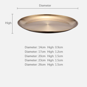 Golden Stainless Steel Round Plate