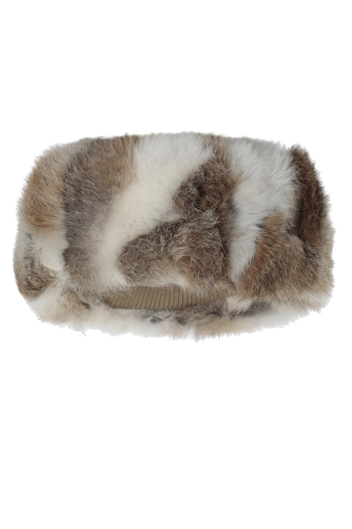 The Alps Fur Headband Brown White