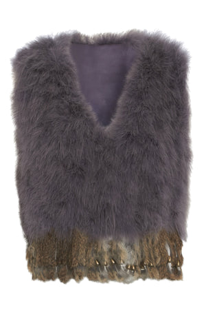 The Ostrich Fur Feather Gilet Cropped Grey