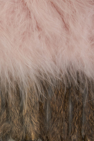 The Ostrich Fur Feather Gilet Cropped Pink