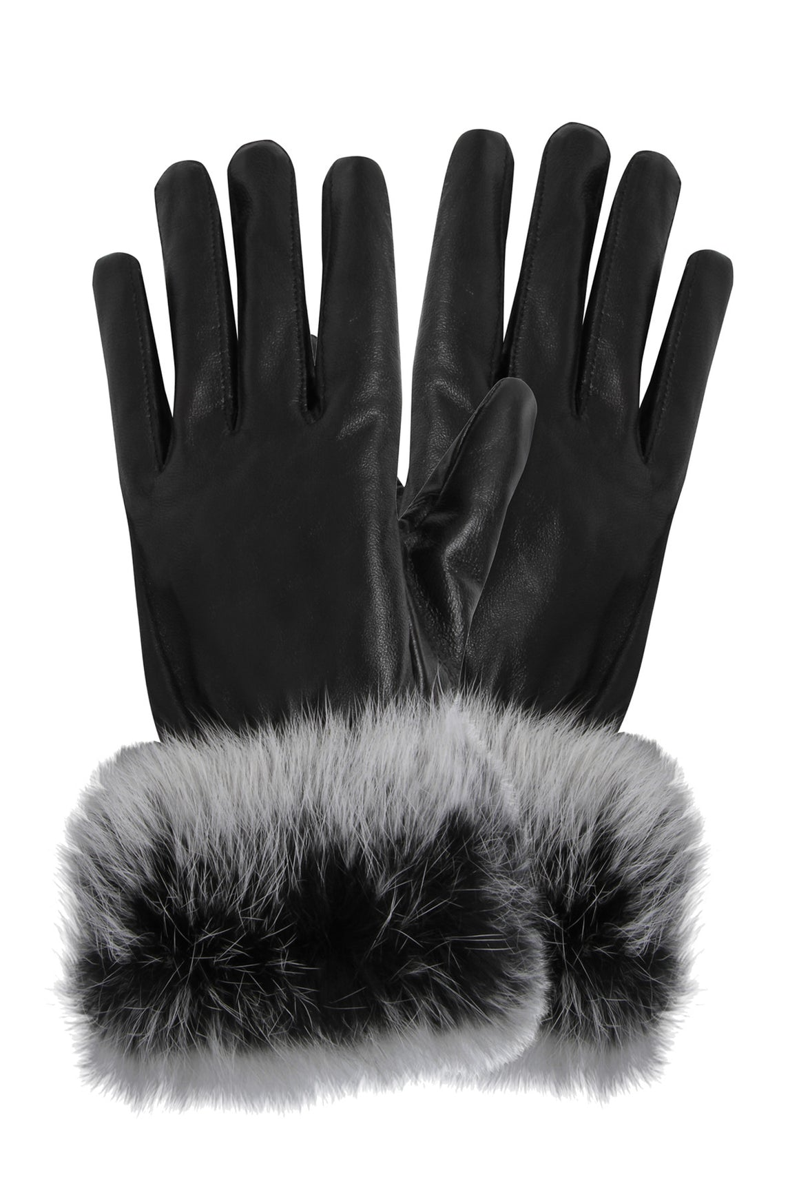 Real Leather Gloves with Fur Trim