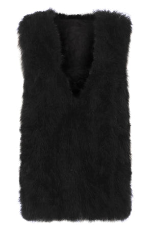 The Ostrich Fur Feather Gilet Black