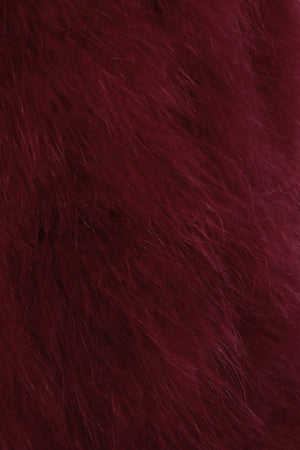 The Ostrich Fur Feather Gilet Burgundy