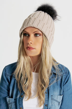 Model Wearing Beige Bobble Hat