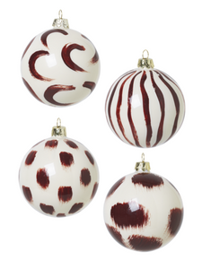 CHRISTMAS GLASS ORNAMENTS-SET OF 4-RED B