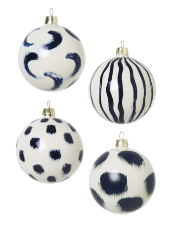 CHRISTMAS GLASS ORNAMENTS-SET OF 4-BLUE