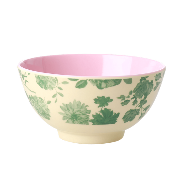 MELAMINE BOWL WITH GREEN ROSE PRINT-TWO TONE-MEDIUM