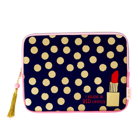TABLET SLEEVE IN DARK BLUE WITH GOLD DOTS AND LIPSTICK PRINT-FOR 12 INCH