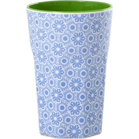 MELEMINE CUP WITH MARAKEKESH PRINT-BLUE AND WHITE-TWO TONE-TALL