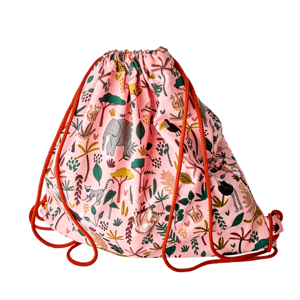 KIDS COTTON STRING DRAW BAG WITH ANIMAL PRINTS-CORAL
