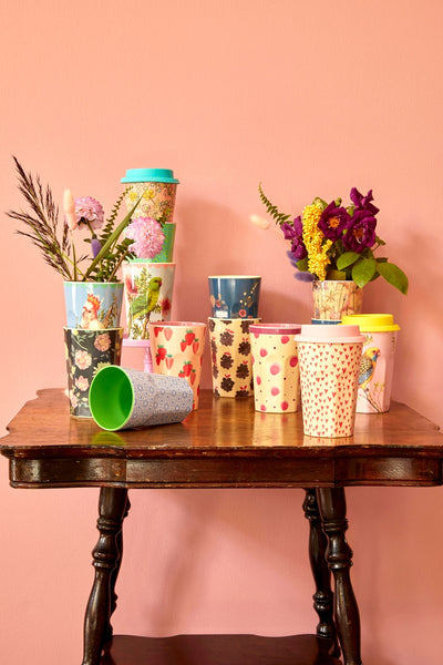 MELAMINE CUP WITH STRAWBERRY PRINT- TALL