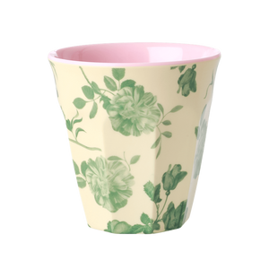 MELAMINE CUP WITH GREEN ROSE PRINT-TWO TONE-MEDIUM