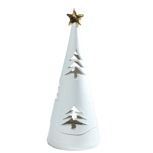 NATALE WHITE SMALL CHRISTMAS TREE CANDLEHOLDER