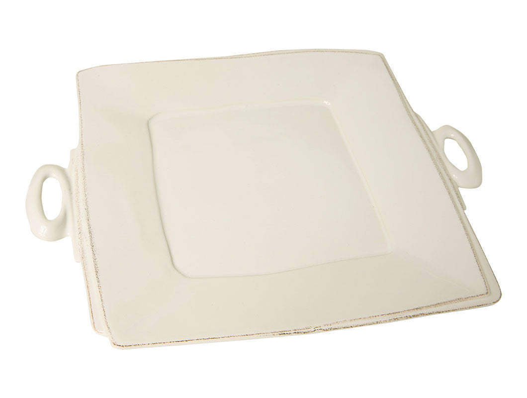 Lastra White Handled Square platter, KITCHENWARE, VIRGINIA CASA, - Fabrica
