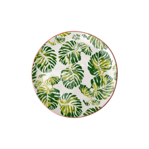 CERAMIC DESSERT PLATE WITH TROPIC LEAF PRINT, KITCHENWARE, RICE, - Fabrica