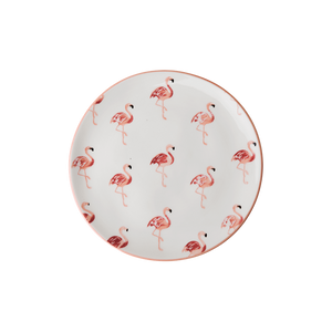 CERAMIC LUNCH PLATE WITH FLAMINGO PRINT, KITCHENWARE, RICE, - Fabrica