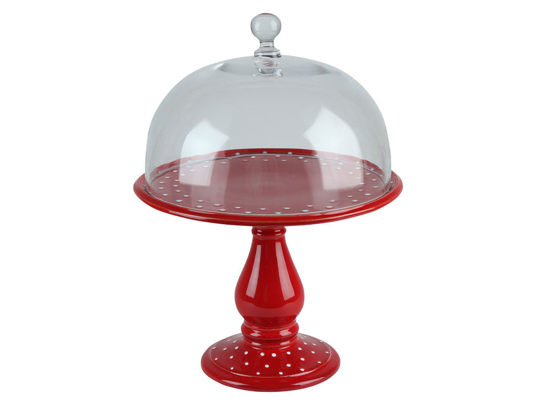 Red Dots Large Cake Stand, KITCHENWARE, VIRGINIA CASA, - Fabrica
