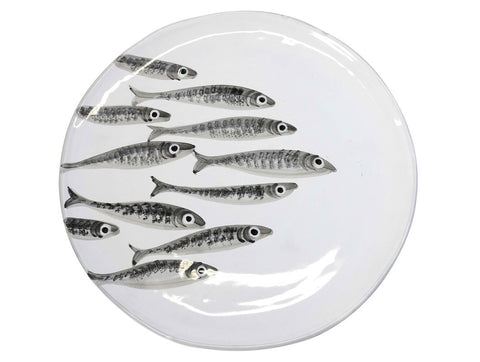Marina Decorated Round Platter With Sardines White, KITCHENWARE, VIRGINIA CASA, - Fabrica
