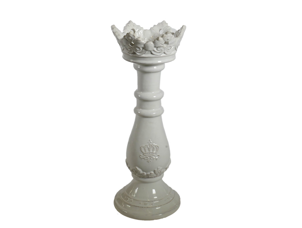 Regale Large Candle Holder - White, HOME DECOR, VIRGINIA CASA, - Fabrica