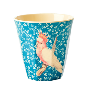 MELAMINE CUP WITH VINTAGE BIRD PRINT-BLUE-MEDIUM, KITCHENWARE, RICE, - Fabrica