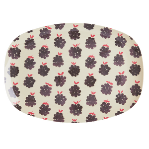 MELAMINE RECTANGULAR PLATE WITH BLACKBERRY PRINT, KITCHENWARE, RICE, - Fabrica