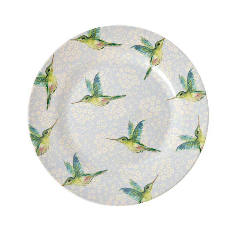 MELAMINE SIDE PLATE WITH HUMMINGBIRD PRINT, KITCHENWARE, RICE, - Fabrica