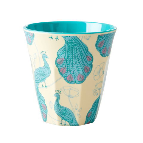 MELAMINE CUP WITH PEACOCK PRINT-TWO TONE-MEDIUM