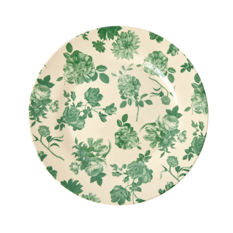 MELAMINE SIDE PLATE WITH GREEN ROSE PRINT, KITCHENWARE, RICE, - Fabrica