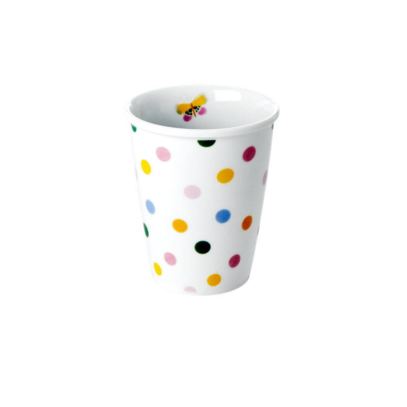 PORCELAIN CUP WITH LET'S SUMMER DOTS PRINT-BUTTERFLY DETAIL, KITCHENWARE, RICE, - Fabrica