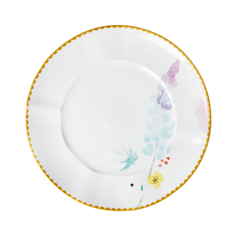 PORCELAIN LUNCH & CAKE PLATE WITH BLUE LAPIN PRINT, KITCHENWARE, RICE, - Fabrica