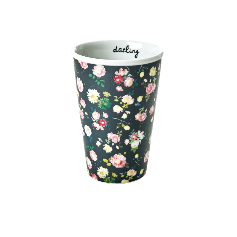 PORCELAIN TALL CUP WITH DARK ROSE PRINT-DARLING DETAIL, KITCHENWARE, RICE, - Fabrica