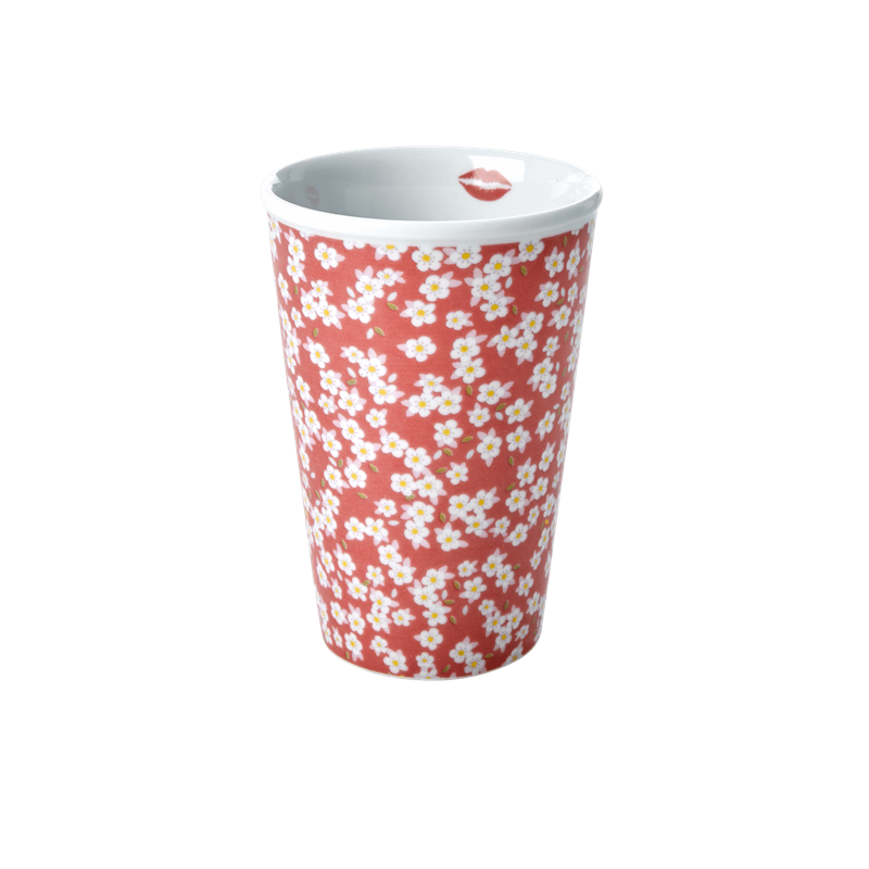 PORCELAIN TALL CUP WITH DUSTY ROSE SMALL FLOWER PRINT-KISS MOUTH, KITCHENWARE, RICE, - Fabrica