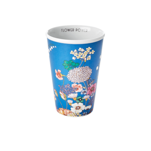 PORCELAIN TALL CUP WITH FLOWER COLLAGE PRINT-FLOWER POWER, KITCHENWARE, RICE, - Fabrica