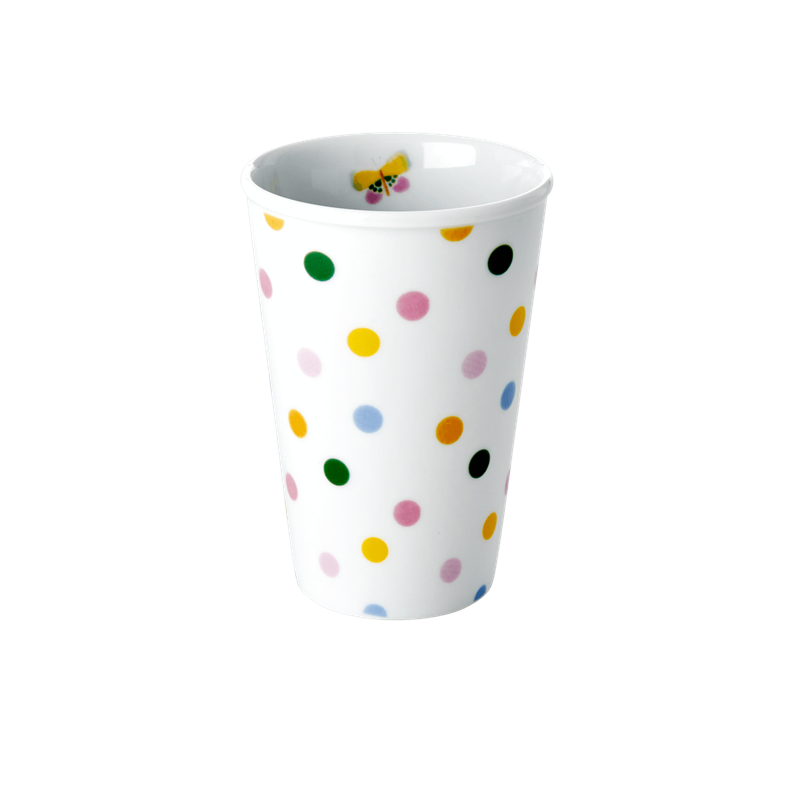 PORCELAIN TALL CUP WITH LET'S SUMMER DOTS PRINT-BUTTERFLY DETAIL, KITCHENWARE, RICE, - Fabrica