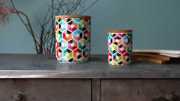 "Porcelain Canister Small ""Hexagon"", KITCHENWARE, REMEMBER®, - Fabrica"