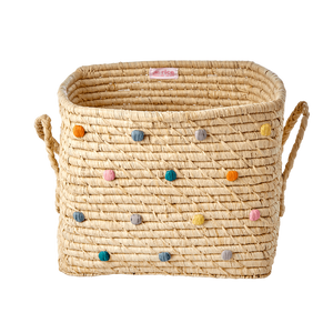 RAFFIA SQUARE BAKSET WITH DOTS IN LETS SUMMER COLOURS, BASIC, RICE, - Fabrica