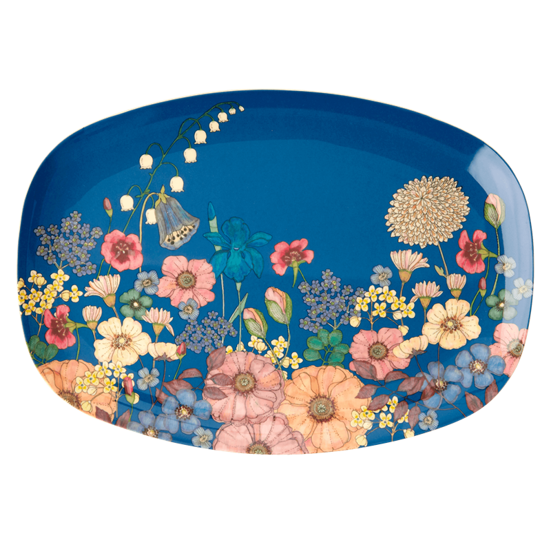 MELAMINE RECTANGULAR PLATE WITH FLOWER COLLAGE PRINT, KITCHENWARE, RICE, - Fabrica