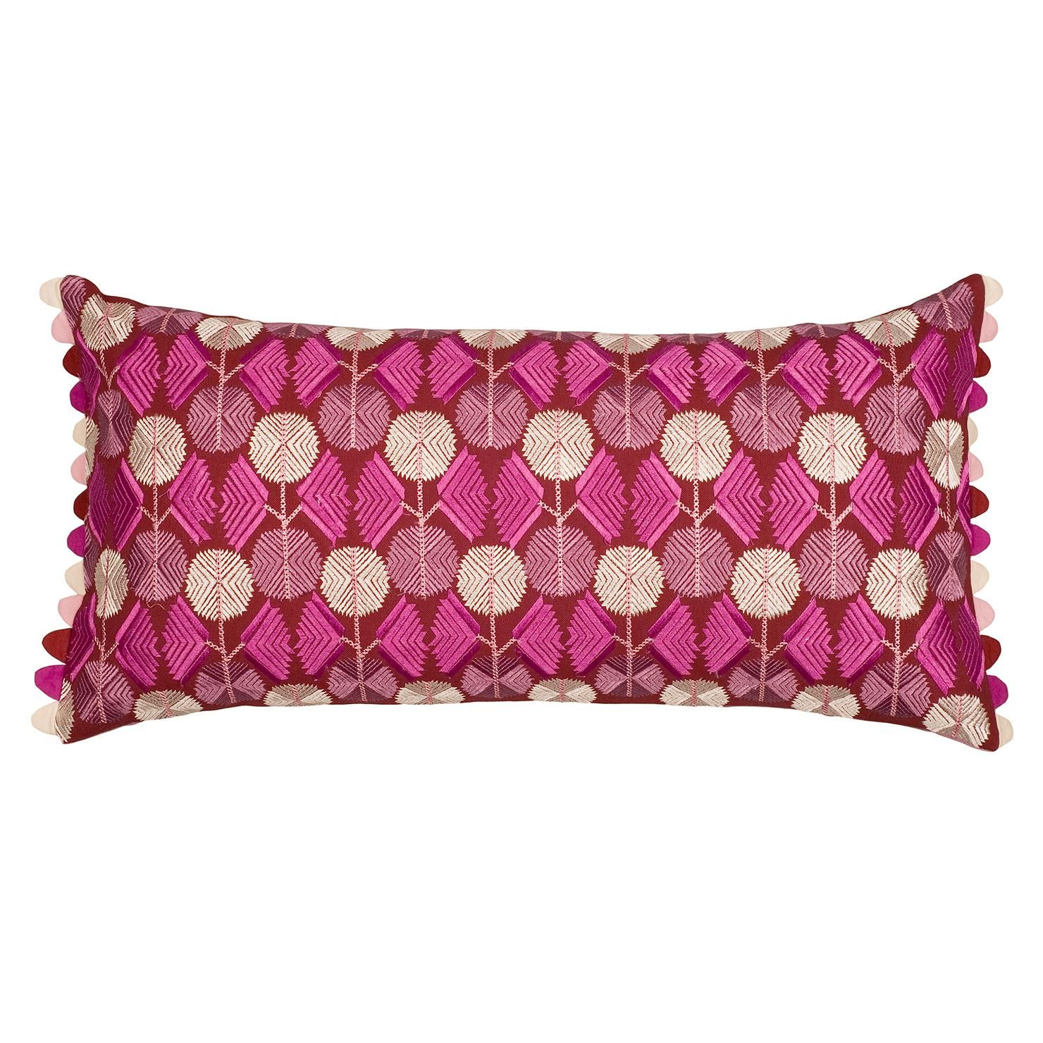 Teazle Rectangular Crimson Cushion